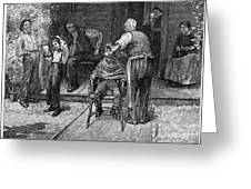 The Village Barber, 1883 Greeting Card