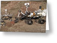 Three Generations Of Mars Rovers Greeting Card