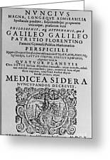 Title Page Of Galileos Book Greeting Card