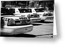 Toronto Police Squad Cars Outside Police Station In Downtown Toronto Ontario Canada Greeting Card