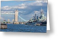 Tower Bridge And Hms Belfast Greeting Card