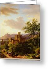 Travellers On A Path In An Extensive Rhineland Landscape Greeting Card