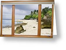 Tropical White Sand Beach Paradise Window Scenic View Greeting Card
