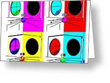 Truly Nolen Rat In Quad Colors Greeting Card