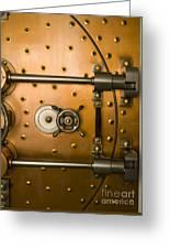 Tumbler On A Vault Door Greeting Card by Adam Crowley
