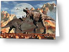 Tyrannosaurus Rex And Triceratops Meet Greeting Card