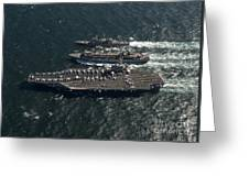 Underway Replenishment At Sea With U.s Greeting Card