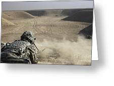 U.s. Army Soldier Fires A Barrett M82a1 Greeting Card