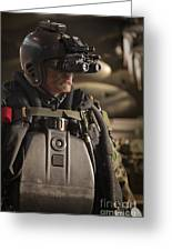 U.s. Navy Seal Equipped With Night Greeting Card