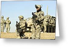U.s. Soldiers Conduct A Combat Patrol Greeting Card