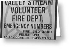 Valley Stream Fire Department In Black And White Greeting Card