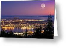 Vancouver At Night, Time-exposure Image Greeting Card