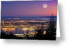 Vancouver At Night, Time-exposure Image Greeting Card by David Nunuk