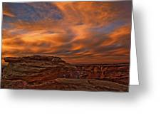 Vibrant Sunset Over The Rim Of Canyon Greeting Card