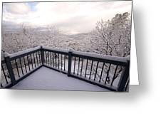 View From A Deck After A Recent Snow Greeting Card