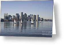 View Of Boston Skyline From Boston Harbor Greeting Card