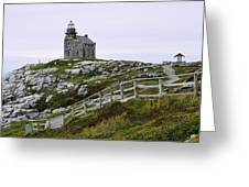 View Of Lighthouse, Rose Blanche Greeting Card