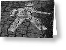 Walking Man In Black And White Greeting Card