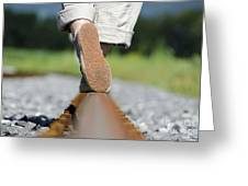 Walking On Railroad Tracks Greeting Card