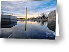 Washington Monument From The World War II Memorial Greeting Card