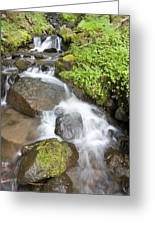 Water Cascading Over Rocks, Mount Hood Greeting Card