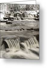Waterfalls With Fresh Snow Thunder Bay Greeting Card