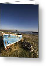 Weathered Fishing Boat On Shore, Holy Greeting Card by John Short