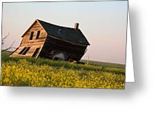 Weathered Old Farm House In Scenic Saskatchewan Greeting Card