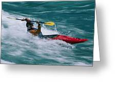 Whitewater Kayaker Surfing A Standing Greeting Card