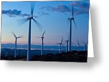 Wind Turbines Greeting Card by David Nunuk