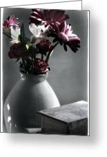Red Floral Still Life  Greeting Card