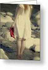 Woman In A River Greeting Card