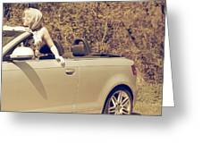Woman In Convertible Greeting Card by Joana Kruse