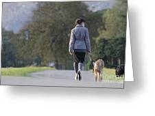 Woman Walking With Her Dogs Greeting Card