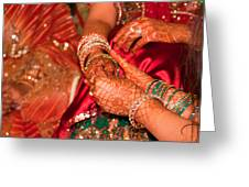 Women With Decorated Hands Holding Hands In A Hindu Religious Ceremony Greeting Card