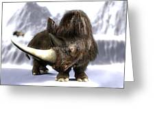 Woolly Rhinoceros Greeting Card by Christian Darkin