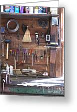 Work Bench And Tools Greeting Card by Adam Crowley