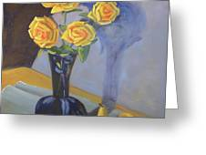 Yellow Roses And Pears Greeting Card