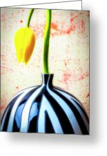 Yellow Tulip In Striped Vase Greeting Card