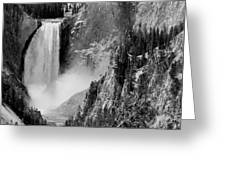 Yellowstone Waterfalls In Black And White Greeting Card