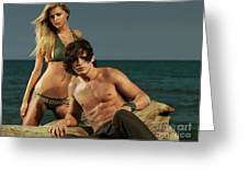 Young Beautiful Couple At The Beach Greeting Card