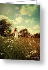 Young Girl Walking In Field Of Flowers Greeting Card