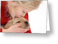 Young Girl With Yellow Labrador Greeting Card