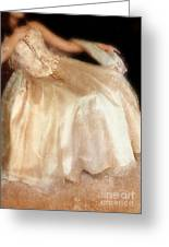 Young Lady Sitting In Satin Gown Greeting Card by Jill Battaglia