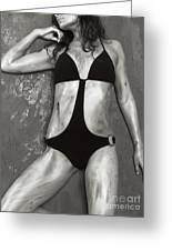Young Woman With Rope Bondage Standing At A Window Greeting Card