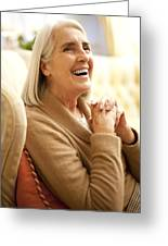Happy Senior Woman Greeting Card