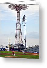 13 Year Old Pitching At Coney Island Cyclones Stadium Greeting Card