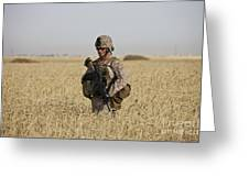 U.s. Marine Patrols A Wadi Near Kunduz Greeting Card