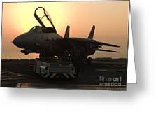 An F-14d Tomcat On The Flight Deck Greeting Card