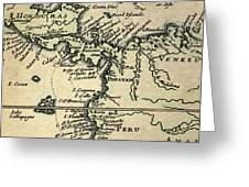 1698 W. Dampier Pirate Naturalist Map Greeting Card by Paul D Stewart